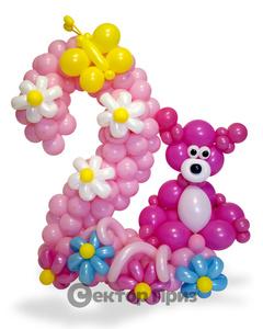 Фигура из шаров «Цифра два с мишкой»
