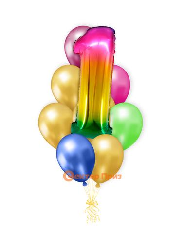 «Шары на год, градиент» — шары с гелием. 12 шт.