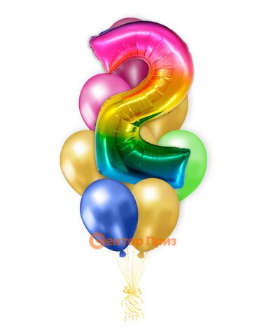 «Шары на два года, градиент» — шары с гелием. 12 шт.