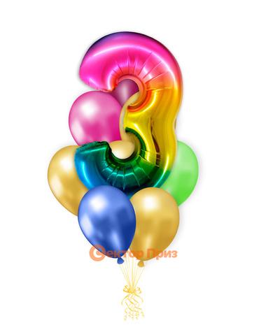 «Шары на три года, градиент» — шары с гелием. 12 шт.