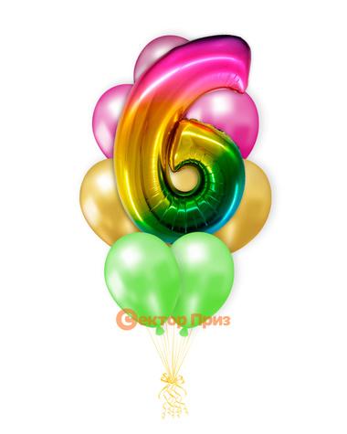 «Шары на шесть лет, градиент» — шары с гелием. 14 шт.