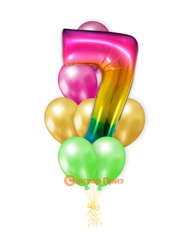 «Шары на семь лет, градиент» — шары с гелием. 14 шт.