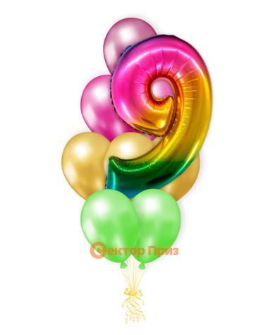 «Шары на девять лет, градиент» — шары с гелием. 14 шт.