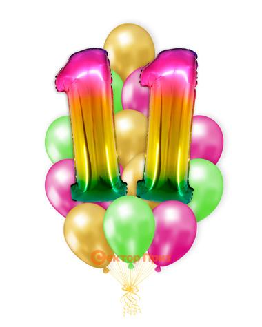 «Шары на одиннадцать лет, градиент» — шары с гелием. 25 шт.