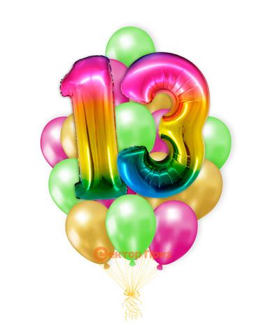 «Шары на тринадцать лет, градиент» — шары с гелием. 25 шт.