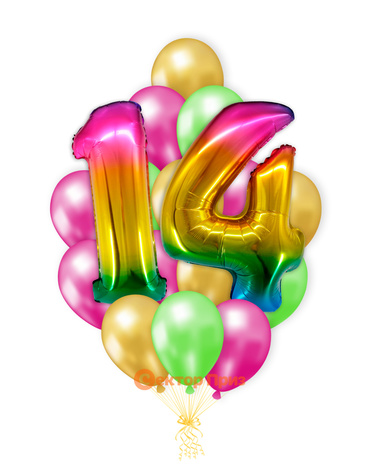 «Шары на четырнадцать лет, градиент» — шары с гелием. 25 шт.