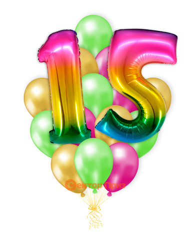 «Шары на пятнадцать лет, градиент» — шары с гелием. 25 шт.