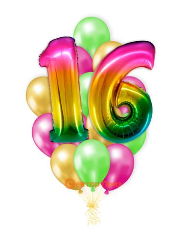 «Шары на шестнадцать лет, градиент» — шары с гелием. 25 шт.