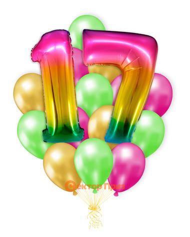 «Шары на семнадцать лет, градиент» — шары с гелием. 25 шт.