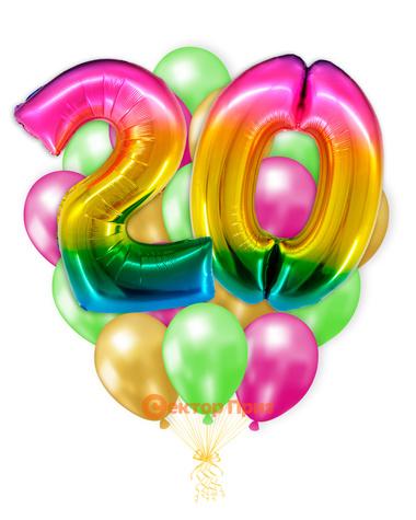 «Шары на двадцать лет, градиент» — шары с гелием. 25 шт.