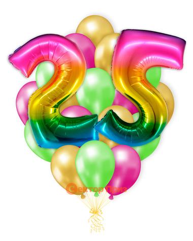 «Шары на двадцать пять лет, градиент» — шары с гелием. 25 шт.