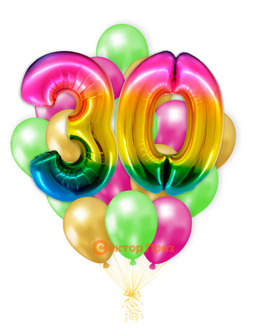 «Шары на тридцать лет, градиент» — шары с гелием. 25 шт.
