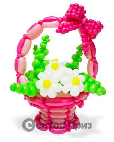 Корзина из шаров с цветами «Розовая сказка»
