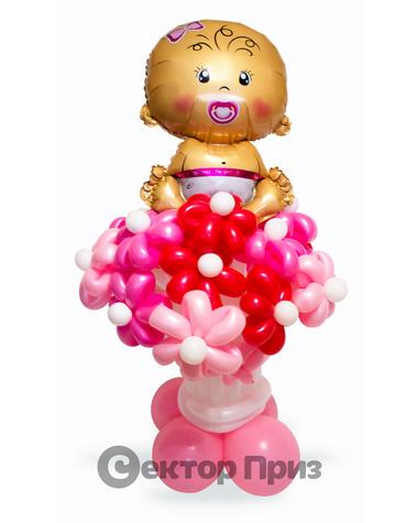 «Букет на рождение девочки» — 17 цветов из шаров