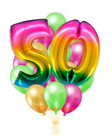 «Шары на пятьдесят лет, градиент» — шары с гелием. 25 шт.