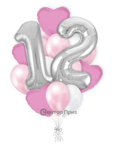«На двенадцать лет девочке» — шары с гелием. 21 шт.