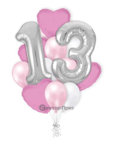 «На тринадцать лет девочке» — шары с гелием. 21 шт.