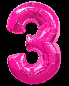 Цифра три розовая