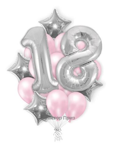 «На восемнадцать лет девушке» — шары с гелием. 23 шт.