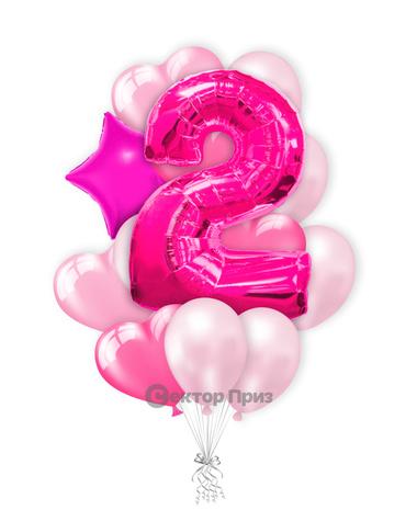 «Шары на два года розовые» — шары с гелием. 17 шт.