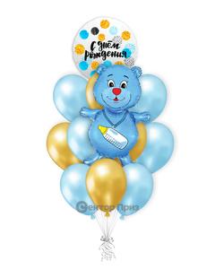 «Шары на рождение мальчика №1» — шары с гелием. 15 шт.
