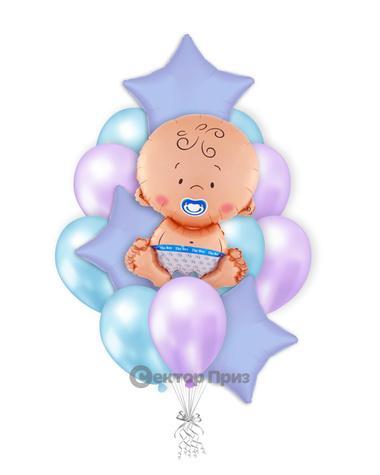 «Шары на рождение мальчика №2» — шары с гелием. 19 шт.