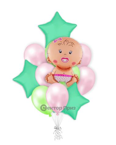 «Шары на рождение девочки №2» — шары с гелием. 19 шт.