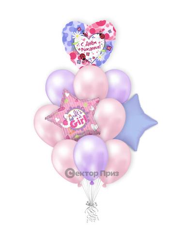 «Шары на рождение девочки №4» — шары с гелием. 15 шт.
