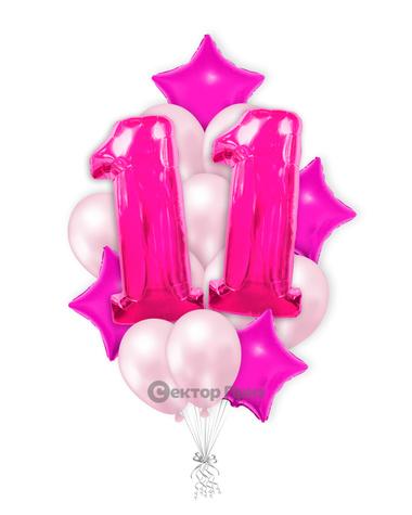 «Шары на одиннадцать лет розовые» — шары с гелием. 25 шт.