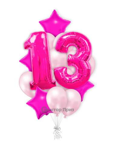 «Шары на тринадцать лет розовые» — шары с гелием. 25 шт.
