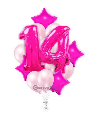 «Шары на четырнадцать лет розовые» — шары с гелием. 25 шт.