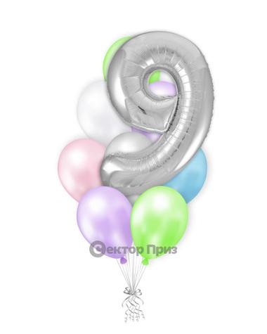 «Шары на девять лет №1» — шары с гелием. 12 шт.