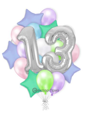 «Шары на тринадцать лет №1» — шары с гелием. 32 шт.