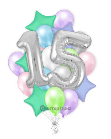 «Шары на пятнадцать лет №1» — шары с гелием. 32 шт.