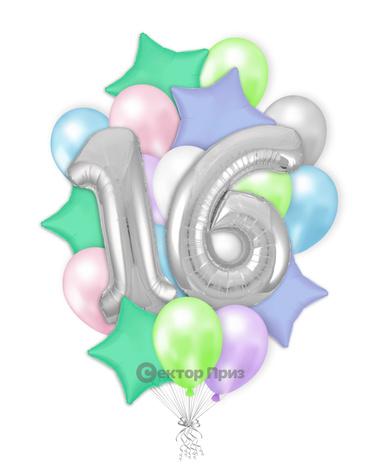 «Шары на шестнадцать лет №1» — шары с гелием. 32 шт.