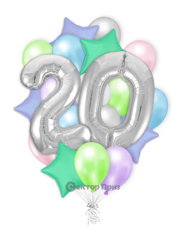 «Шары на двадцать лет №1» — шары с гелием. 32 шт.