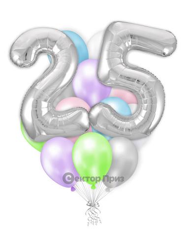 «Шары на двадцать пять лет №1» — шары с гелием. 22 шт.