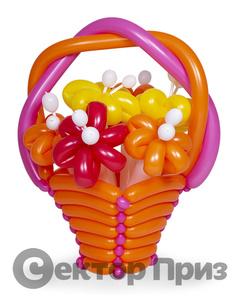 Корзина из шаров с цветами №1