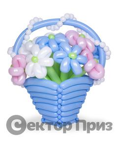 Корзина из шаров с цветами №2