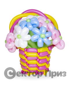 Корзина из шаров с цветами №3