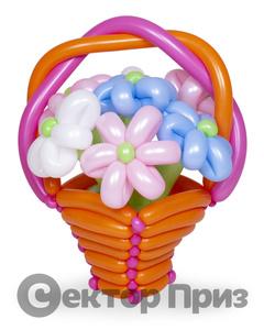 Корзина из шаров с цветами №4