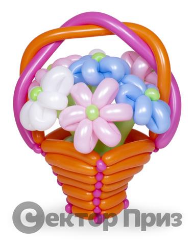 Корзина из шаров с цветами №5