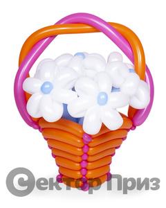 Корзина из шаров с цветами №6