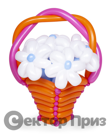 Корзина из шаров с цветами №7