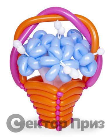 Корзина из шаров с цветами №8