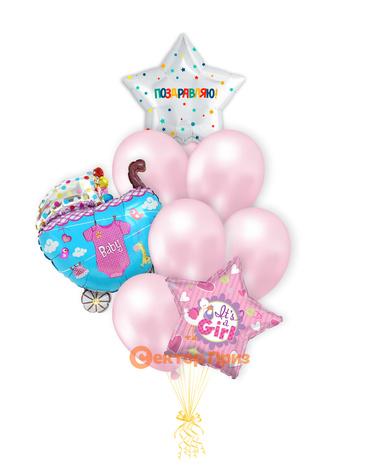 «Шары на рождение девочки №7» — шары с гелием. 12 шт.
