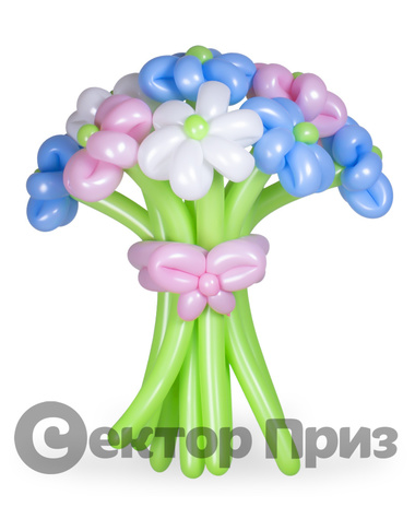 «Букет ромашек №9» — 15 цветов из шаров