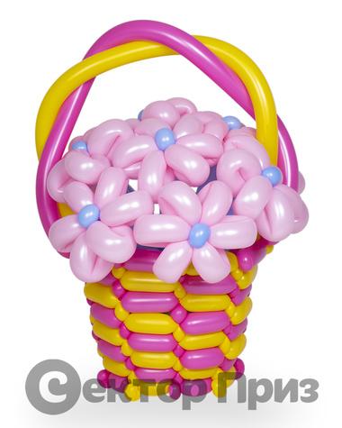 Корзина из шаров с цветами №11