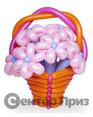 Корзина из шаров с цветами №12