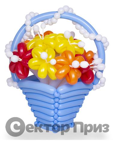 Корзина из шаров с цветами №13